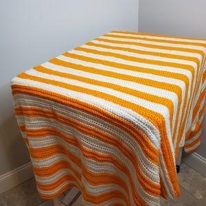 Orange and White Stripe Handmade Afghan